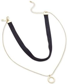 Inc International Concepts Gold-Tone Faux-Suede Choker Necklace, Only at Macy's - Black