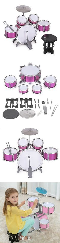 676f359d4 Music and Art 11735: 7 Pcs Childrens Toys Drum Set Musical Instrument W  Stool Drumsticks
