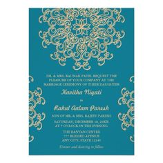 AQUAMARINE BLUE AND GOLD INDIAN STYLE WEDDING CUSTOM INVITATION