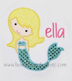 Custom Boutique Personalized Mermaid Shirt, Monogrammed, Appliqued, Custom Fabric Choices and Colors Twins, Free Monogramming on Etsy, $20.00