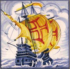 Caravelas - Barcos : Azulejo Individual Caravela azul 4 ANB