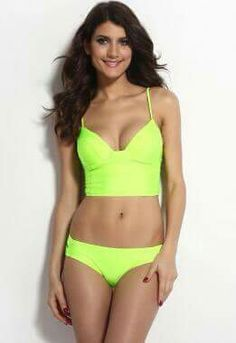 f92d4b41dd1ff Zkess Women s Low Neck Sleeveless Strappy Back Bandage Bikini Set Small Size  Neon Green