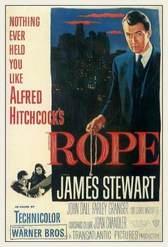Rope - Alfred Hitchcock - brilliant film where the entire film is acted on one set with only perhaps 6 or 7 cuts in the filming.  It is also vaguely based on the Leopold and Leob case