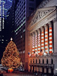 New York Stock Exchange with  Lighted Christmas Tree - http://andrewprokos.com
