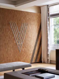 Vicarage Gate, diamond tile mural in oak veneer finish by Giles Miller Studio.