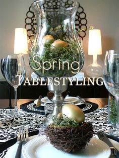 Spring Table Styling Ideas - A Modern Nest with Gold Eggs + B pattern via @FocalPoint http://nyclq-focalpoint.blogspot.com/2012/03/spring-tablestyling-ideas.html