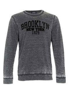 Sweatshirt gris dévoré motif Brooklyn