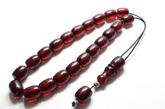 Authentic, Handmade Worry Beads / Greek Komboloi, of collective and traditional value. Beads are hand crafted from a special mixture with Bakelite and Amber filings. Greek Gifts, Prayer Beads, Cherry Red, Stress Relief, Anniversary Gifts, Amber, Cufflinks, Beaded Bracelets, Mens Fashion