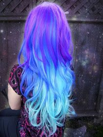Blue ombre hair gives you that sexy mermaid look. If you want to go with a fun new blue or green ombre hair style, check out these 24 sassy ombre looks! Cute Hair Colors, Beautiful Hair Color, Hair Color Purple, Hair Dye Colors, Cool Hair Color, Purple Ombre, Pastel Colored Hair, Rainbow Hair Colors, Bright Purple Hair