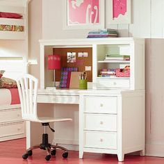 painted computer hutch Kylie Collection Desk with 2 Drawers Hutch