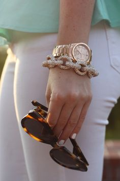Gold watch and gold link bracelet