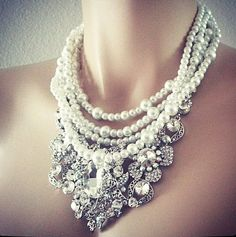 Pearl Rhinestone Bridal  Wedding Jewelry Set by PearlJewelryNecklace, $126.00