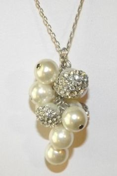 """CLEARANCE - $21.77 WITH FREE SHIPPING  (was $30.00) -  HIGH QUALITY - Crystal Pearl Cluster Necklace with Swarovski Crystal Elements by eBay seller ShoppingSpree4Me. =========================  FIND US ON LINE:   1) Go to eBay.com 2) Next to the blue search button click on the word """"Advance""""  3) On the Item Menu (left side) click on """"By Seller""""  4) Enter the Seller User ID """"ShoppingSpree4Me""""  5) Click search  6) This will bring up our current items listed on eBay."""