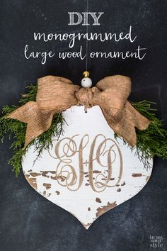 Carved wood monogrammed ornament. How to carve a monogram into a wood cut out ornament to decorate your house or give as Christmas gifts.