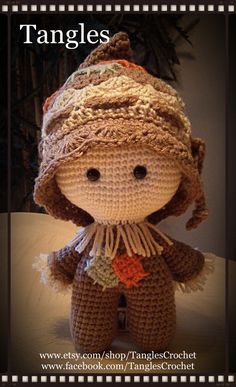 Scarecrow Baby Big Head Baby Doll Amigurumi Made to image 0 Easy Crochet Patterns, Crochet Patterns Amigurumi, Amigurumi Doll, Doll Patterns, Crochet Toys, Crochet Fall, Halloween Crochet, Cute Crochet, Big Head Baby