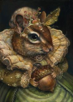 "pagewoman: "" The Duchess of Oak Nut Thumbelina and the Four Seasons by Annie Stegg "" Art And Illustration, Lapin Art, Art Fantaisiste, Fairytale Art, Inspiration Art, Whimsical Art, Pet Clothes, Animal Paintings, Pet Portraits"