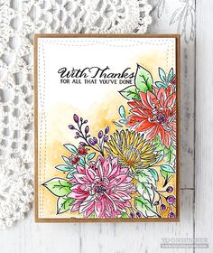 Yoonsun Hur for Wplus9 featuring the Beautiful Bouquet: Mums stamp set.