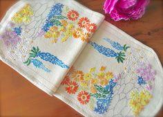 """Hand Embroidered Vintage """"Cottage Garden"""" Table Runner by GardenOfCrinoline on Etsy"""