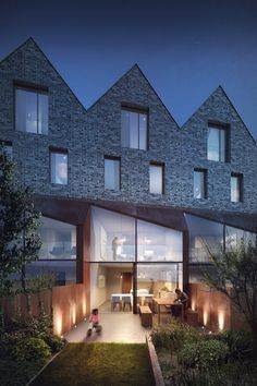 BBC Television Center Homes - Rendering by Pedro Fernandes, for Mikhail Riches Architects Residential Architecture, Interior Architecture, Cgi, Brick Facade, Brick Building, Townhouse, House Design, House Styles, Home