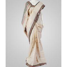 Natural colored butta tussar silk saree