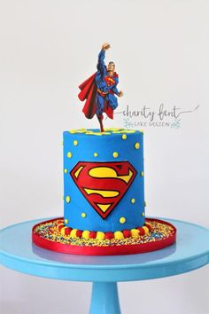 Birthday Cakes by Charity Fent Cake Design. Custom cakes for to birthday. There is not a better way to celebrate than with a beautiful cake. Superman Birthday Party, 5th Birthday Cake, Birthday Cake Flavors, Birthday Kids, Happy Birthday, Bolo Super Man, Bolo Drip Cake, Bolo Do Mickey Mouse, Bolo Fack