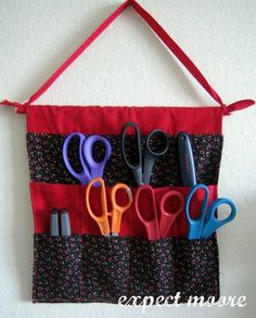 Some good sewing room organization and tips...this would be great for papercraft scissors, too!