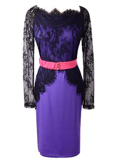 Hot Sale Long Sleeve Purple Sheath Dress with Lace