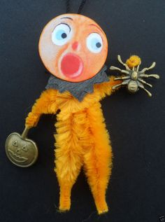 Freaked Out JOL & Spider chenille vintage style Halloween Tree ornament