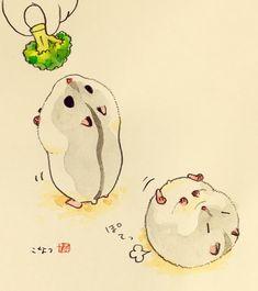 Cute Animal Drawings, Kawaii Drawings, Cute Drawings, Cute Illustration, Watercolor Illustration, Cute Hamsters, Dibujos Cute, Wow Art, Cute Doodles