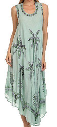 Sakkas 117 Watercolor Palm Tree Tank Caftan Short Dress - SeaFoam - One Size