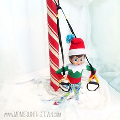 Fitsie the Elf Trx Suspension Trainer, Suspension Training, The Elf, Elf On The Shelf, Pole Fitness, North Pole, No Equipment Workout, Holiday Decor, Holiday Ideas