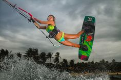 Best Kiteboarding wallpaper: Paula Rosales with a colorful railey Best Kiteboarding, Kitesurfing, Big Waves, Wallpaper, Photography, Colorful, Bikinis, Belgium, Google