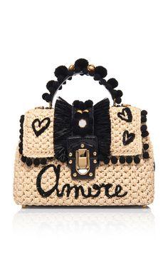 Dolce & Gabbana Lucia Top Handle In Brown Crochet Handles, Glamour Lingerie, Crochet Purses, Crochet Bags, String Bag, Kids Jewelry, Crochet Patterns Amigurumi, Crochet Fashion, Handmade Bags