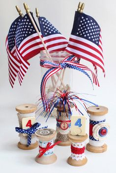 Something Created Everyday: of July Thrifted Decorations - Jennifer Kovatch - conscious Spool Crafts, Diy Crafts, Fourth Of July, 4th Of July Wreath, Happy Birthday America, 4th Of July Celebration, 4th Of July Decorations, Art Birthday, Patriotic Crafts