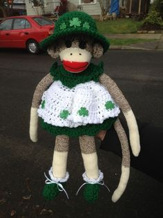MEGAN O' RILEY  IRISH RED HEEL ROCKFORD SOCK MONKEY