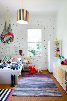 Loving this fun and funky bedroom for kids