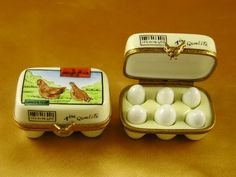 """HALF CARTON OF EGGS"" Limoges Box"