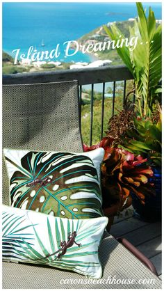 No need to leave home, create your own island retreat with a few new tropical accents - Love these pillows!