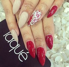 Red, Nude, Red glitter, & 3D flowers