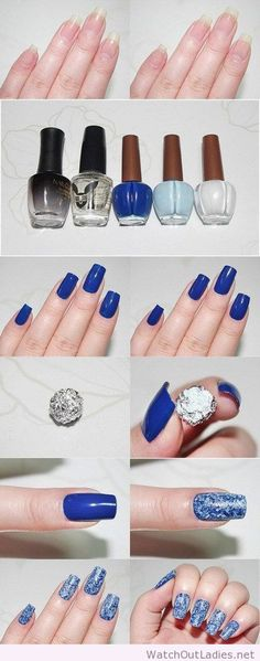 Lovely blue nail art tutorial