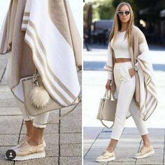 Neutral blanket poncho-Street style from the world's most stylish cities – Just Trendy Girls