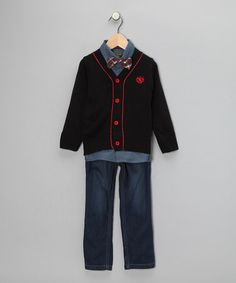 College Boyys Black & Red Prep Jeans Set on #zulily! #cutiestyle