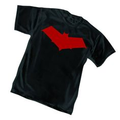 DC New 52 black t-shirt printed with the Red Hood Symbol.