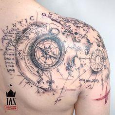 Treasure Map X #maptattoo #map #rodrigotas #tas #watercolortattoo #watercolor #watercolour #watercolourtattoo #aquarela #acuarela #dotwork #dotworktattoo #pontilhismo #tattoodesign #1session