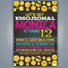 Emoji Party Invitation DIGITAL ITEM Emoticon by Stardyprintables