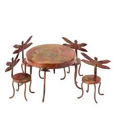 Another great find on #zulily! Flamed Steel Miniature Dragonfly Five-Piece Table Set #zulilyfinds
