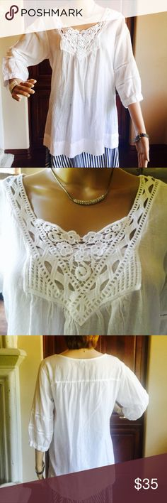 100% cotton white blouse Size M cotton pull over blouse with crochet detail in front. Siganka - Maui Hawaii Tops