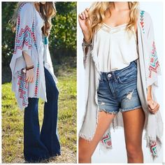6b5f6d10135e8 Umgee USA Tribal Printed Frayed Kimono Grey Boho Festival Vintage S - M - L  in Clothing, Shoes & Accessories, Women's Clothing, Sweaters