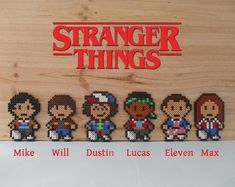 Personnages de Stranger Things - Aimant - Magnet - Perles Hama - Pixel art - Perler Beads - New Ideas Perler Bead Designs, Perler Bead Templates, Hama Beads Design, Diy Perler Beads, Perler Bead Art, Melty Bead Patterns, Pearler Bead Patterns, Perler Patterns, Beading Patterns