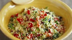 Couscous-Paprikasalat häkeln , Couscous-Paprikasalat Lecker zu Fisch, Fleisch und Co. Dip Recipes, Baby Food Recipes, Salad Recipes, Cooking Recipes, Yummy Recipes, Bulgur Salad, Couscous Salad, Low Carb Protein, Healthy Salads